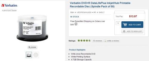 Verbatim DVD R DataLifePlus Inkjet Hub Printable 94917 B H Photo