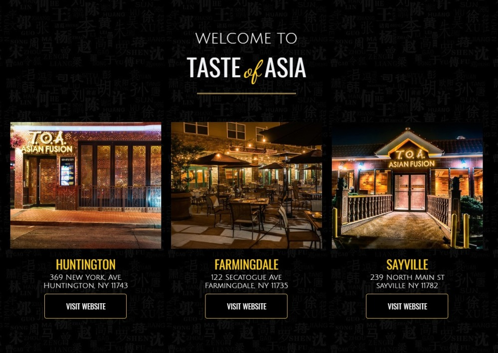 TOA Taste of Asia Huntington Farmingdale and Sayville
